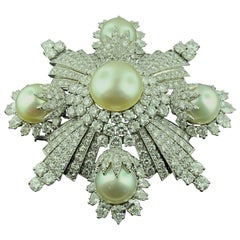 David Webb Maltese Cross Pearl and Diamond Brooch