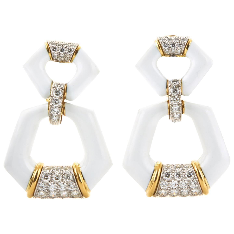 David Webb Manhattan Minimalism White Enamel and Diamond Earrings