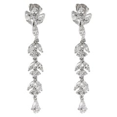 David Webb Marquise, Pear & Round Diamond Drop Earrings in Platinum '4.64 Carat'