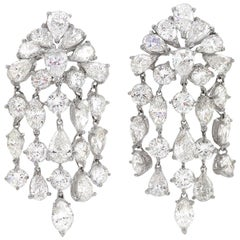David Webb Mid-20th Century Diamond and Platinum 'Waterfall' Earrings