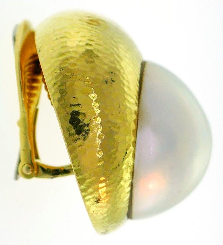 Women's David Webb Mobe Pearl Yellow Gold Earrings For Sale