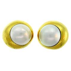 David Webb Mobe Pearl Yellow Gold Earrings