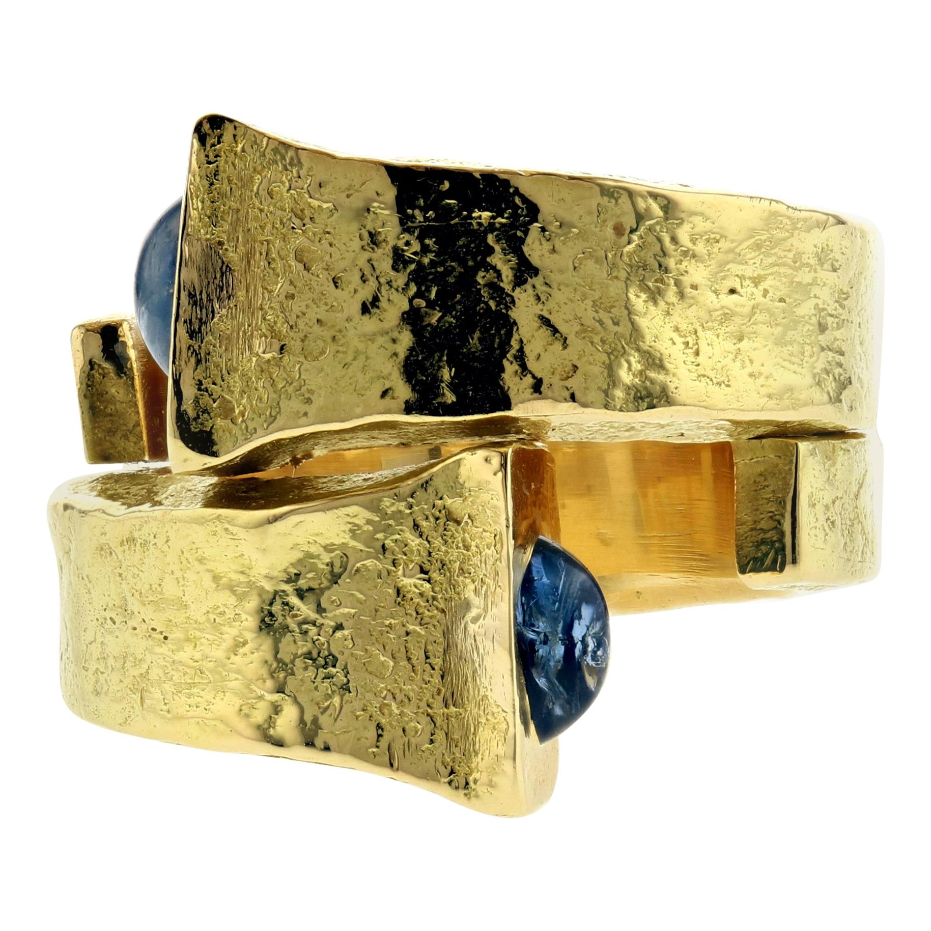 David Webb Bypass Ring with Cabochon Sapphires