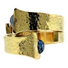 David Webb Nail Ring with Sapphires