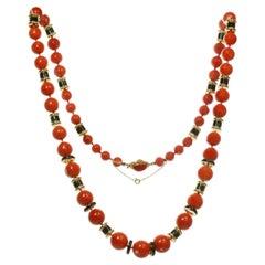 David Webb Natural Red Coral Bead Black Enamel Yellow Gold Necklace