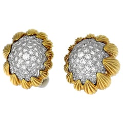 David Webb, New York, Diamond, Platinum and 18 Karat Yellow Gold Bombé Ear Clips