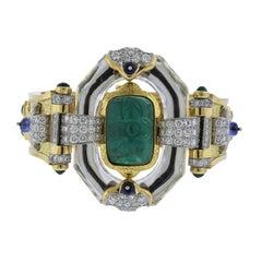 David Webb One of a Kind Emerald Diamond Sapphire Platinum Gold Bracelet