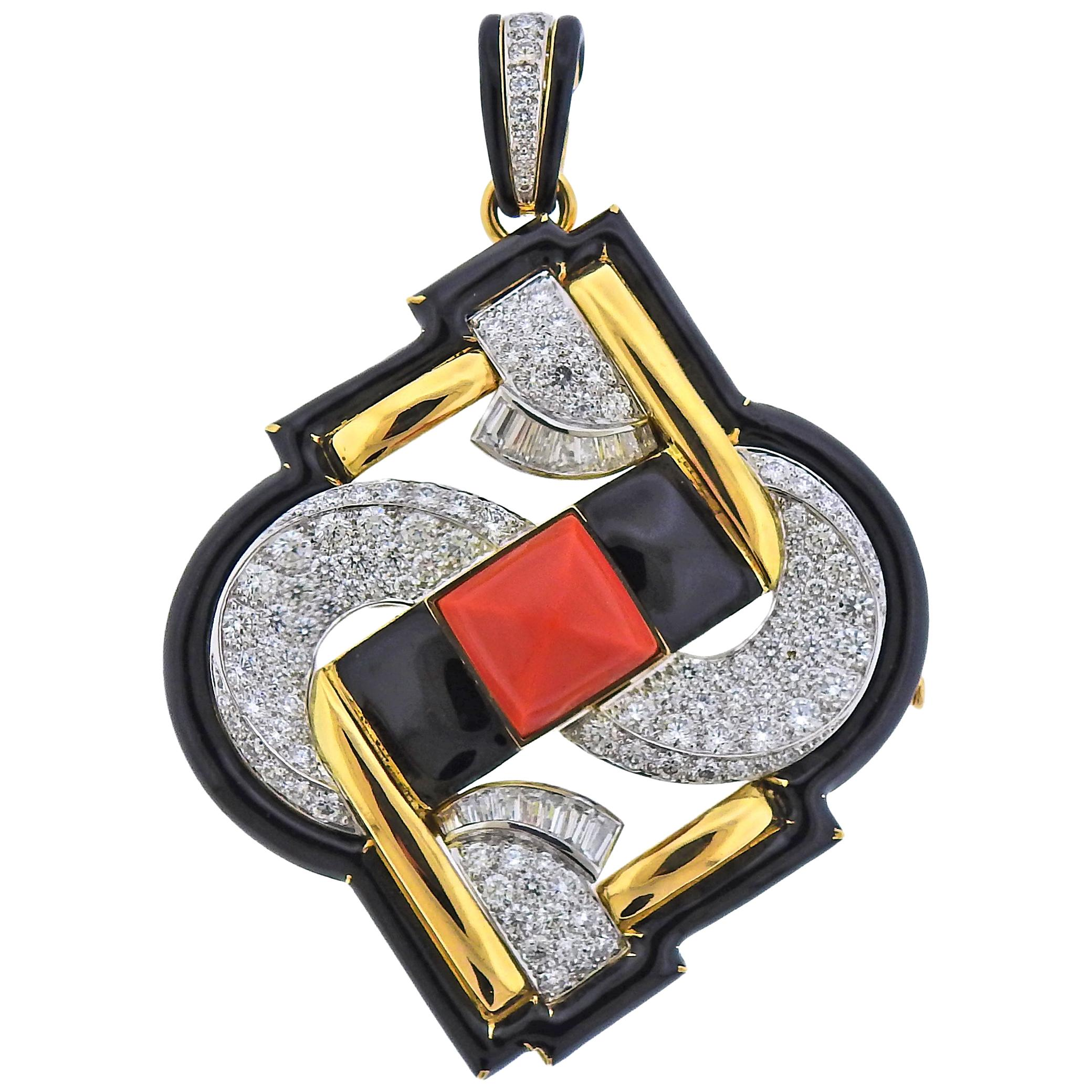 David Webb One of a Kind Platinum Gold Coral Diamond Enamel Pendant Brooch