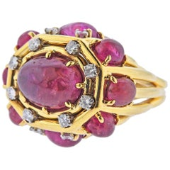 David Webb One of a One 21.20 Carat Ruby Gold Cocktail Ring