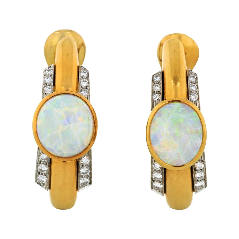 David Webb Opal and Diamond Hoop Clip-On Earrings