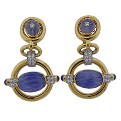 David Webb Orbit Diamond Carved Sapphire Gold Platinum Drop Earrings