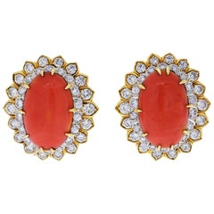 David Webb Oval Coral and Round Cut Diamond Earrings