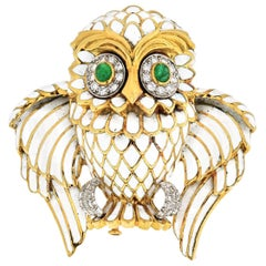 David Webb Owl White Enamel Vintage Brooch