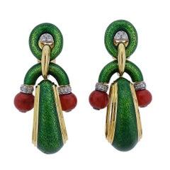David Webb Pagoda Diamond Coral Enamel Gold Platinum Doorknocker Earrings