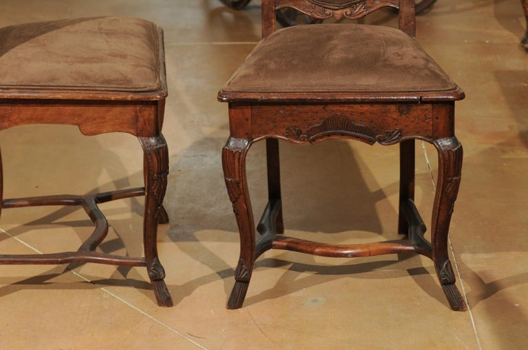 Italian 18th Century Roman Rococo Dining Room Side Chairs with Suede Upholstery For Sale 5