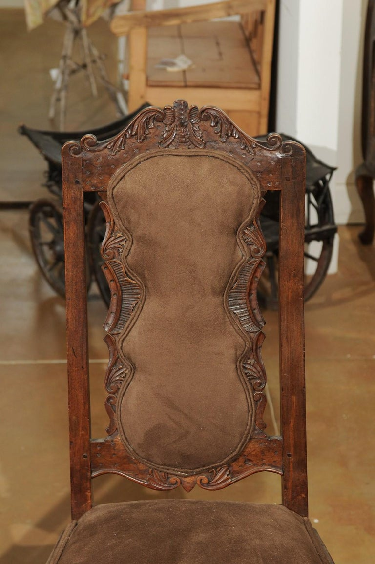 Italian 18th Century Roman Rococo Dining Room Side Chairs with Suede Upholstery For Sale 6