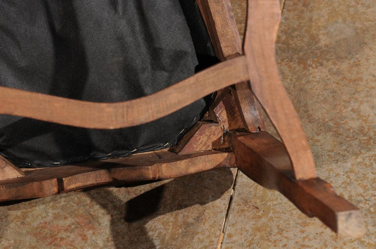 Italian 18th Century Roman Rococo Dining Room Side Chairs with Suede Upholstery For Sale 8