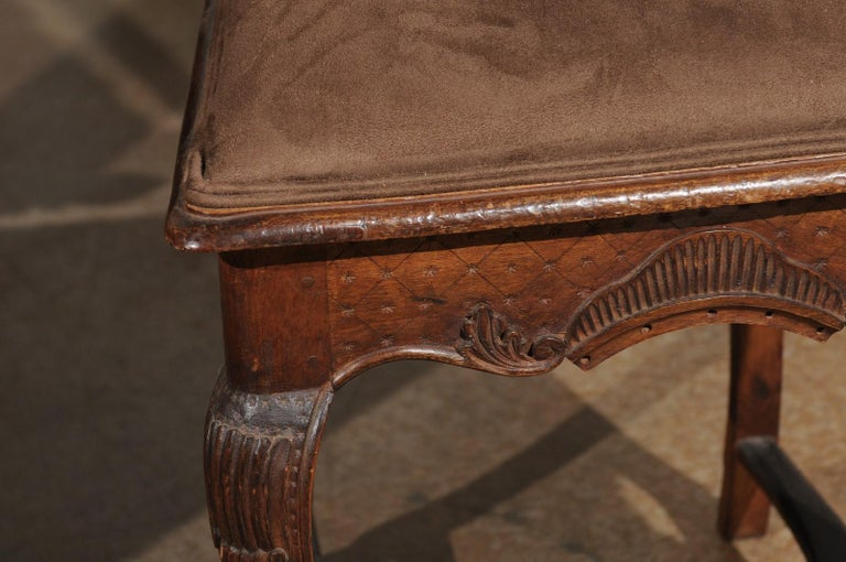 Italian 18th Century Roman Rococo Dining Room Side Chairs with Suede Upholstery For Sale 12