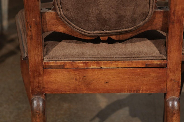 Italian 18th Century Roman Rococo Dining Room Side Chairs with Suede Upholstery For Sale 13