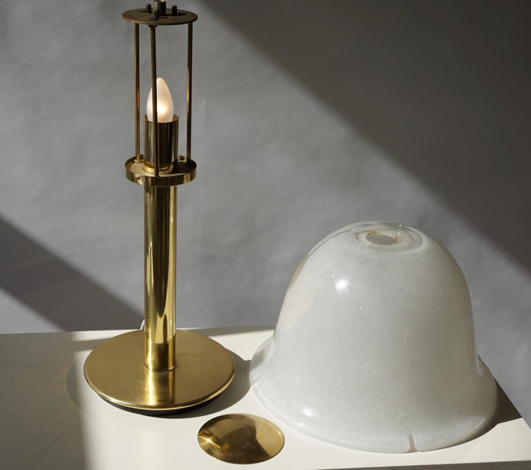 Table Lamp in Murano Glass and Brass For Sale 12