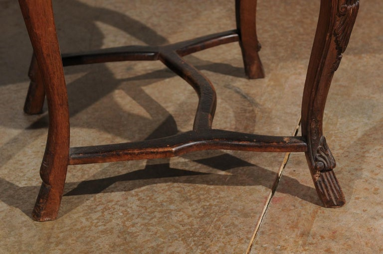 Italian 18th Century Roman Rococo Dining Room Side Chairs with Suede Upholstery For Sale 14