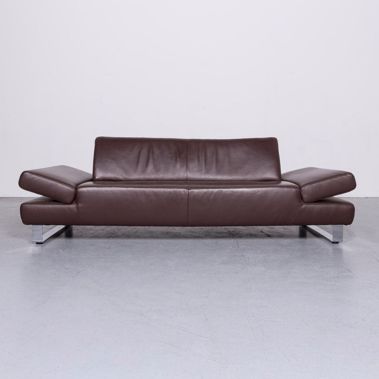 We Bring To You An Willi Schillig Taboo Designer Leather Sofa Brown Three Seat Couch
