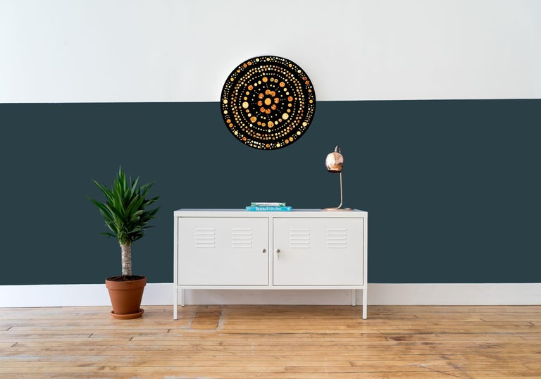 """Atlas' wall hanging features various fruit wood end-grain embedded in ABDB midnight black resin. Complete with pieces necessary to place on wall.  Measures: 23"""" diameter.  Handmade by Djivan Schapira. Lead time: 6-8 weeks. Ships from New"""