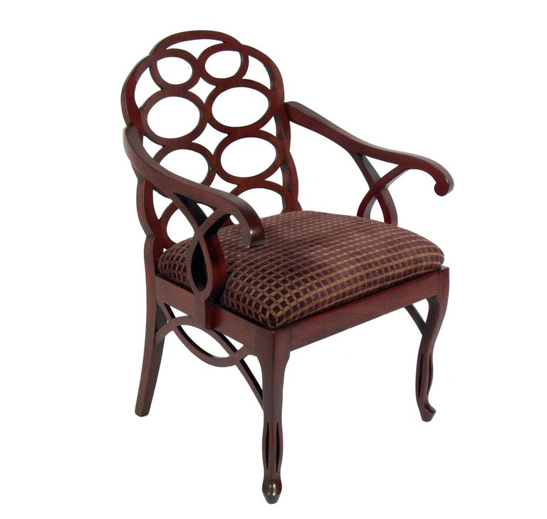 Frances Elkins Loop chair, American, circa 1980s. This chair was originally designed by Frances Elkins in the 1930s. This example is a later production, probably circa 1980s. This chair is currently being refinished and reupholstered and can be