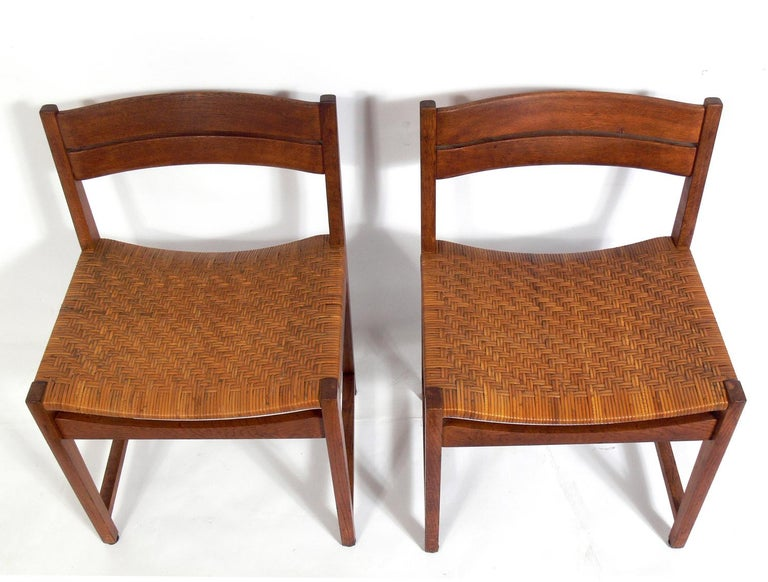 Set of four Danish modern teak and caned dining chairs, designed by Peter Hvidt & Olga Mølgaard-Nielsen, Denmark, circa 1960s. They have been cleaned and Danish oiled.