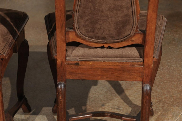 Italian 18th Century Roman Rococo Dining Room Side Chairs with Suede Upholstery For Sale 15