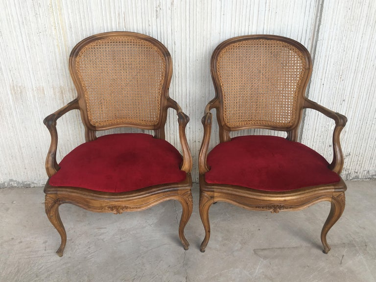 French 18th Louis XV Cane Back and Seat Fauteuil Armchair. For Sale