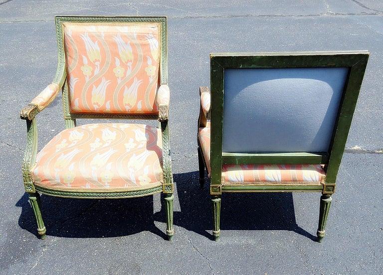 American Pair of Louis XVI Style Armchairs