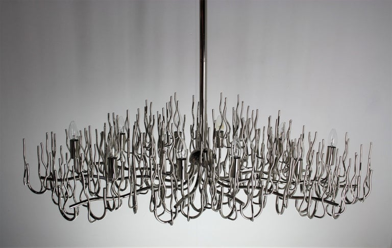 Mid-Century Modern Exceptional Large Chromed Bush Chandelier, Italy, 1970s For Sale