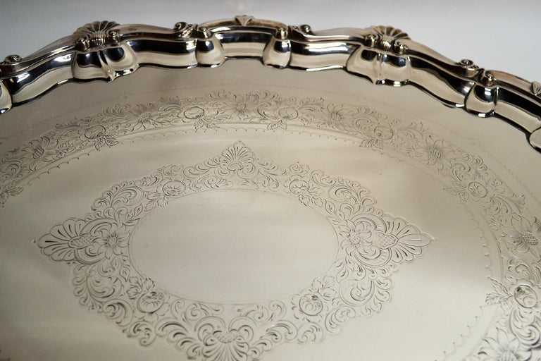 Plated Antique English Sheffield Plate Serving Tray For Sale