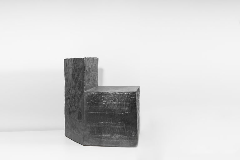 Minimalist Jonathan Nesci w/ Robert Pulley unique Chair Black Coppered Glaze 18/18  For Sale