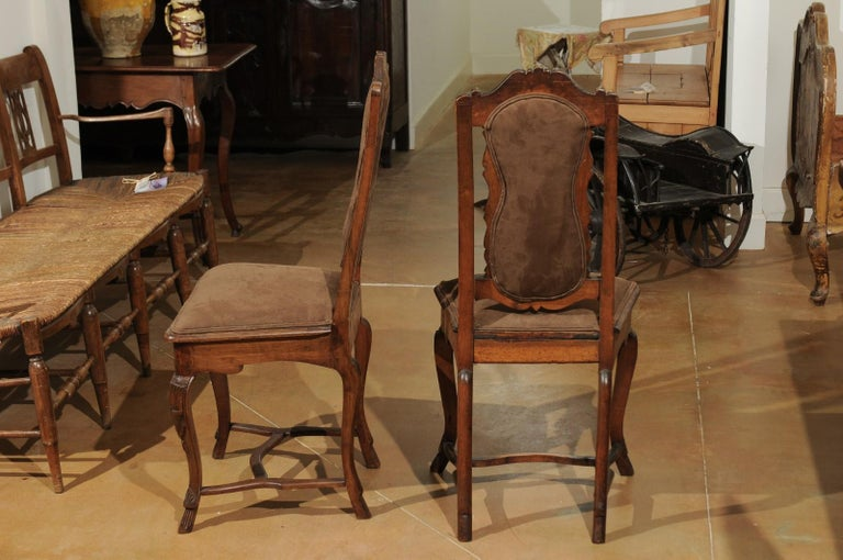 Carved Italian 18th Century Roman Rococo Dining Room Side Chairs with Suede Upholstery For Sale