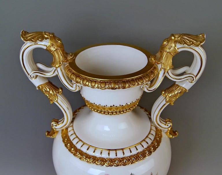 German Meissen Amphora Vase Flowers D 153 by Leuteritz, circa 1870 For Sale