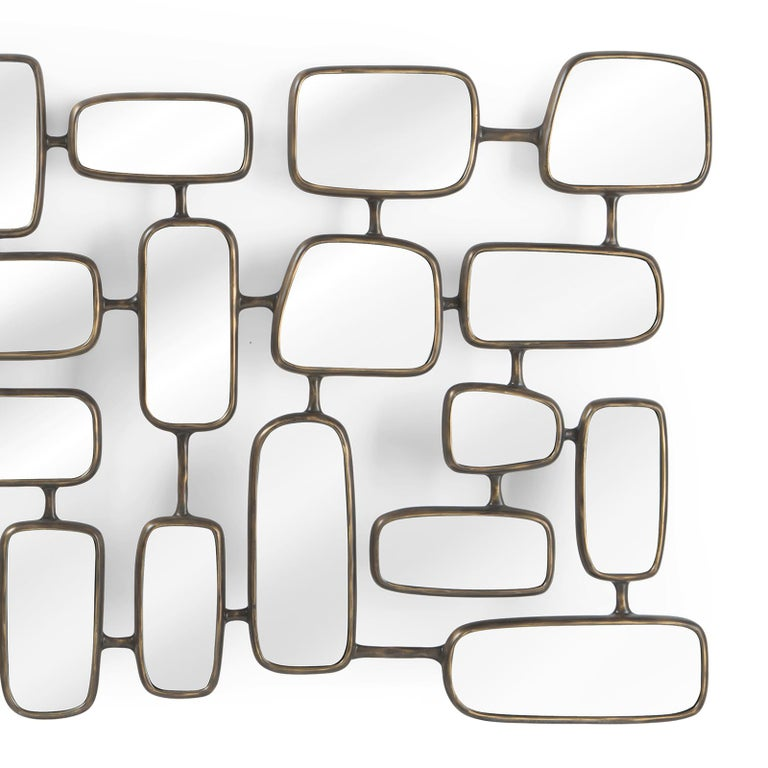 Hand-Crafted Linked Panels Mirror For Sale