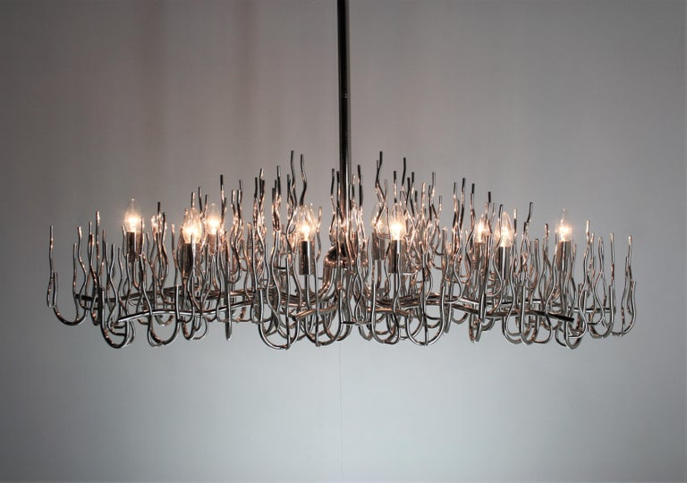 Italian Exceptional Large Chromed Bush Chandelier, Italy, 1970s For Sale