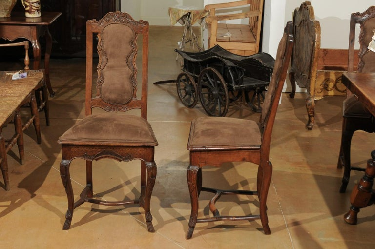 Italian 18th Century Roman Rococo Dining Room Side Chairs with Suede Upholstery In Good Condition For Sale In Atlanta, GA