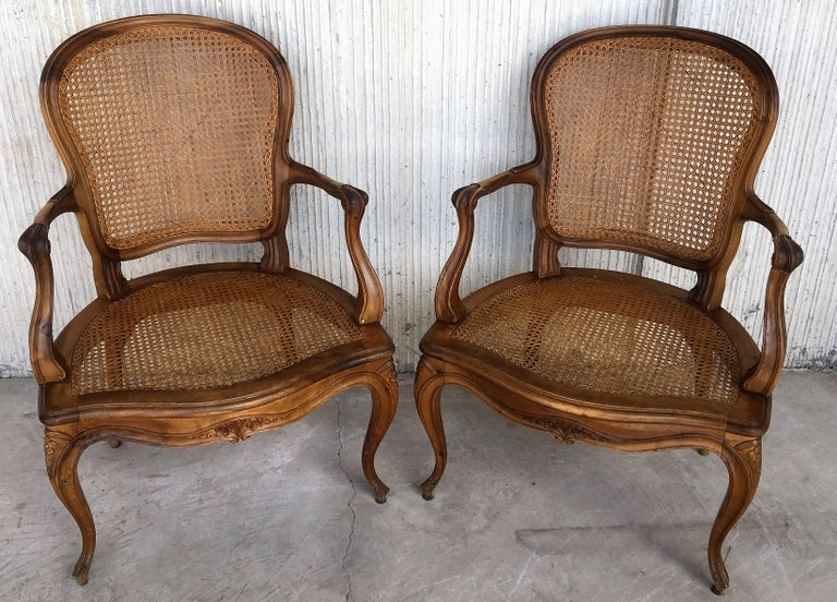 18th Century 18th Louis XV Cane Back and Seat Fauteuil Armchair. For Sale
