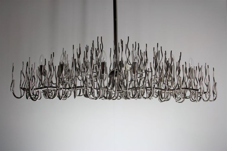 Exceptional Large Chromed Bush Chandelier, Italy, 1970s In Good Condition For Sale In Belgium, BE
