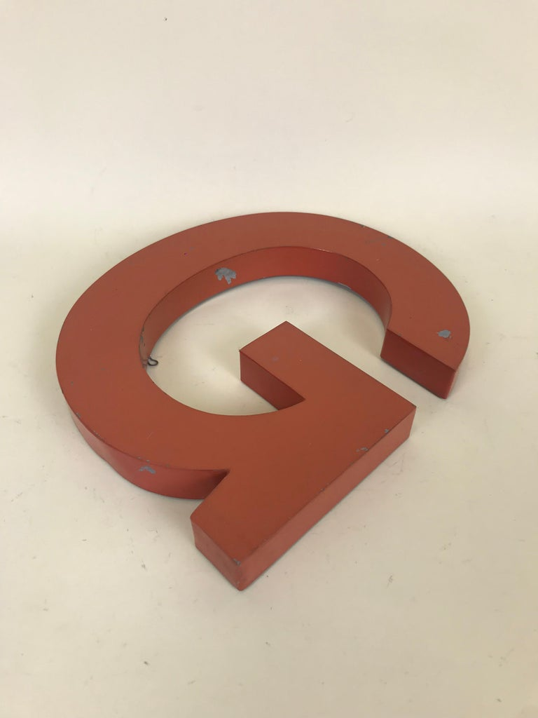 Mid-20th Century 1950s Orange Metal Vintage French Capital Letter G Sign For Sale