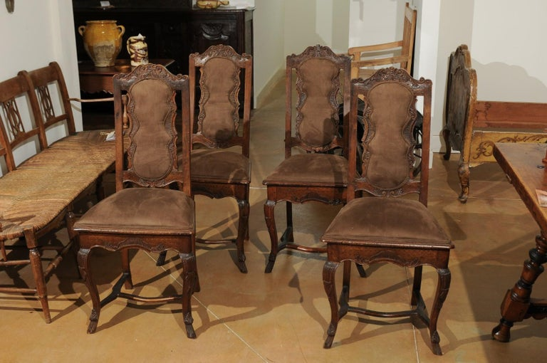 18th Century and Earlier Italian 18th Century Roman Rococo Dining Room Side Chairs with Suede Upholstery For Sale