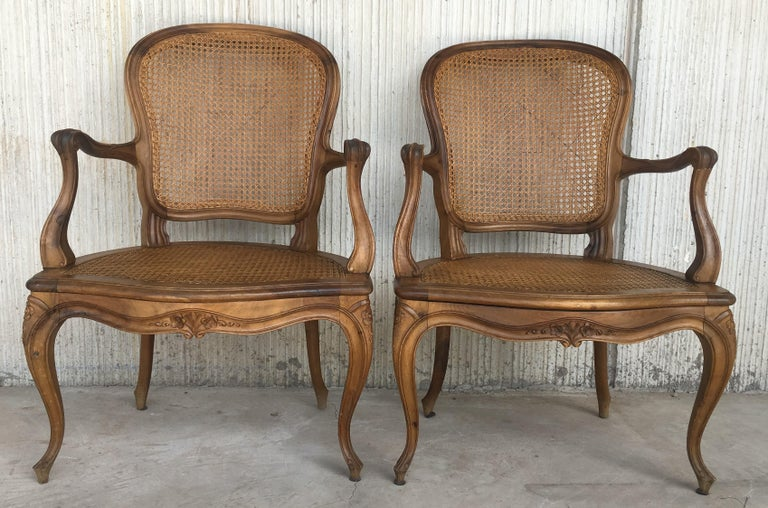 Velvet 18th Louis XV Cane Back and Seat Fauteuil Armchair. For Sale