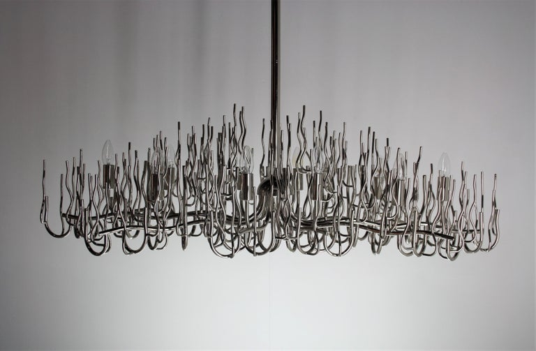 Late 20th Century Exceptional Large Chromed Bush Chandelier, Italy, 1970s For Sale