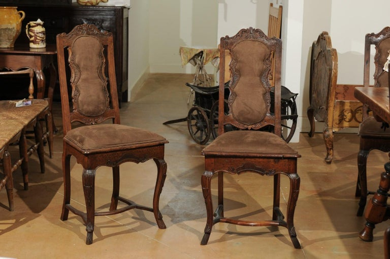 Italian 18th Century Roman Rococo Dining Room Side Chairs with Suede Upholstery For Sale 1