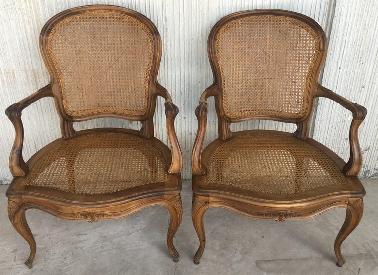 18th Louis XV Cane Back and Seat Fauteuil Armchair. For Sale 1