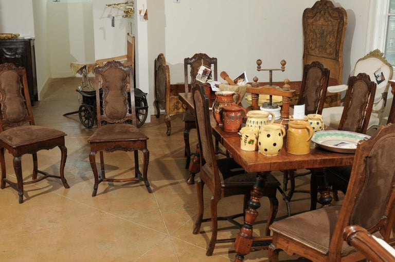 Italian 18th Century Roman Rococo Dining Room Side Chairs with Suede Upholstery For Sale 2
