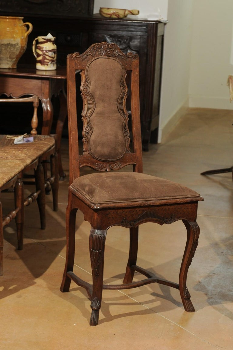 Italian 18th Century Roman Rococo Dining Room Side Chairs with Suede Upholstery For Sale 3